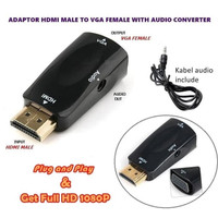 Kabel Converter HDMI Female To VGA Male Dongle Adapter Audio