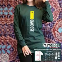Kaos Distro 3Second 24S - TJTG-03L Hijau Botol Lengan Panjang Rib - Hijau, M
