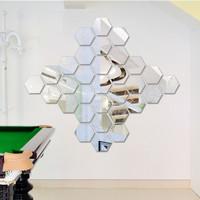 1 lusin cermin kaca dinding hexagon dekor rumah - L - gold, L