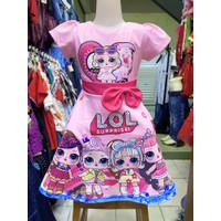 Dress Lol Surprise Pink Anak Perempuan Cewek Cewe Girl Balita Impor