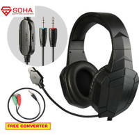 Headset Bando Gaming Headphone Kabel PC & Free Konverter ke Smartphone