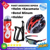 Paket Aksesoris Sepeda Helm + Kacamata + Botol Minum + Holder Kit