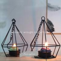 Lentera lilin modern nordic geometric/ hollow candle holder/chandelier