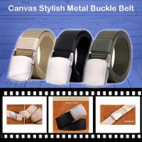Tali Ikat Pinggang Pria Canvas Stylish Metal Buckle Belt outdoor