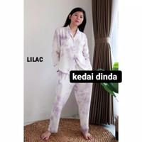 Baju Wanita Baju Tidur Wanita Setelan Piyama tie dye Rayon Cotton