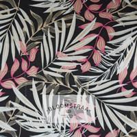 Kain Kanvas Bamboo Pink canvas bahan daun bambu pink hitam floral leaf