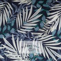Kain Kanvas Bamboo Blue canvas bahan daun bambu biru hitam floral leaf