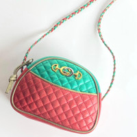 Guccired and green Trapuntata quilted metallic leather mini sling bag