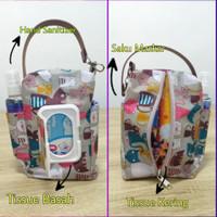 Tas Pouch 4 in 1 tempat tissue basah tissue kering masker - produk demo