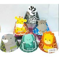 Unik Animal Baby Theme Topi Ulang Tahun 12pc Diskon