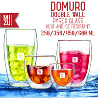 DOMURO 450ml Gelas Kaca Anti Panas + Tutup Double Wall Pyrex Glass Cup