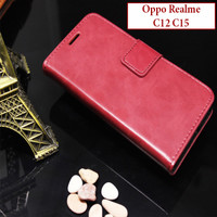 Oppo Realme C12 C15 Flipcase Leather Case Casing Slot Card Bluemoon