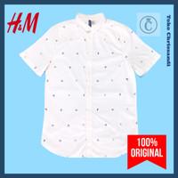 Kemeja Pria Lengan Pendek HnM H&M DIVIDED Motif Abstrak Putih ORIGINAL