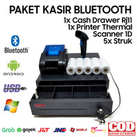 PAKET KASIR MURAH ANDROID BLUETOOTH CASH DRAWER+PRINTER+SCANNER+KERTAS