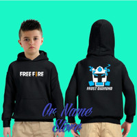 sweater Hoodie anak free fire froze diamond - M, Merah