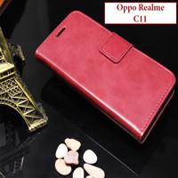 Oppo Realme C11 Flipcase Leather Case Casing Slot Kartu Cover Bluemoon