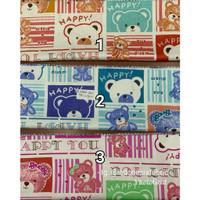 Kain bahan Katun Jepang Tokai senko motif Happy Bear
