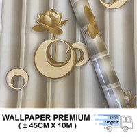 Wallpaper Stiker Dinding 45cm X 10M - RING MAWAR GOLD