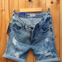 celana jeans pria/celana pendek/short jeans/ripped jeans - 28