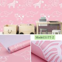 Home Wallpaper Sticker Dinding Zoo Pink 45cm x 10m   Wallpaper Kamar