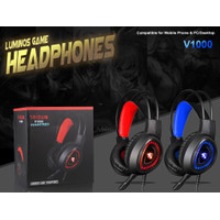 V1000 HEADSET GAMING BANDO STEREO BASS WITH LIGHT OPEN MIC