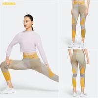 Legging PREMIUM cewe 7/8 Women Nike Pro Legging Wanita High Waist Yoga - Kuning, S
