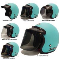 helm retro jpn arc bogo (sky blue doff) kaca visor flat datar cembung