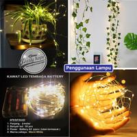 Lampu Natal LED Warm White Baterai / Batre A2 Kawat Tembaga 3 meter