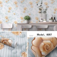 Home Wallpaper Sticker Dinding Polkadot Mawar Coklat - 45cm x +-10m