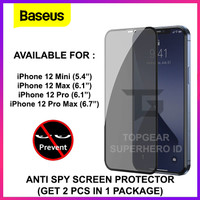 BASEUS TEMPERED GLASS ANTI SPY IPHONE 12 MINI PRO MAX SCREEN PROTECTOR - 12 PROMAX 6.7