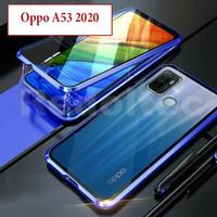 Oppo A53 2020 Flip Magnetic Depan Belakang Kaca Case Casing Cover Glas