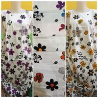 Terbaru Midi Dress Standar Dasar Hitam Kembang Warna