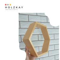 rak dinding minimalis hexagon kayu jati belanda anti rayap
