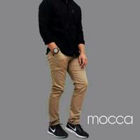 celana chino panjang pria slim fit warna MOCCA / skinny street