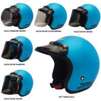 Helm retro jpn arc bogo (ice blue doff) kaca visor flat datar cembung