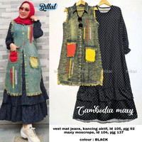 Cambodia maxy maxidress dan long vest denim asli cantik