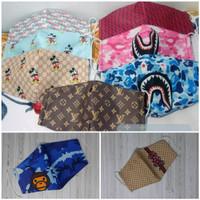 masker kain branded 3 ply / masker premium brand terkenal, bisa dicuci