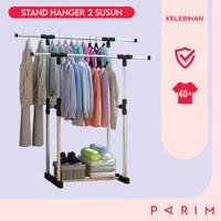 PARIM STAND HANGER DOUBLE POLE GANTUNGAN BAJU Handuk PAKAIAN PRM-112