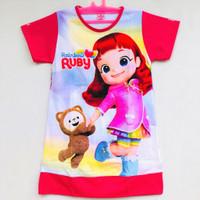 Daster Anak Perempuan Bahan Katun Gambar Rainbow Ruby Usia 6-9 Tahun