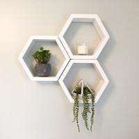 Ambalan rak hias dinding hexagon warna putih, SET 3 pcs