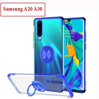 Samsung A20 A30 Soft Case Casing Cover Plating Clear Bening With Ring