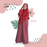 Raggakids RG 45 Tanpa Jilbab Baju Muslim Gamis Kaos Anak Maroon Stripe