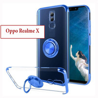 Oppo Realme X Soft Case Casing Cover Plating Clear Bening With Ring
