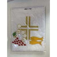 Taplak Meja Altar Putih Bordir 5 Roti 2 Ikan (150 x 115 cm)