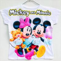 Baju Atasan Anak Perempuan Lengan Pendek Mickey Minnie Mouse 7-10 Thn