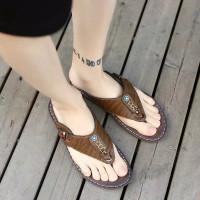 sandal pria import kulit asli