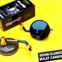 spion klasik bulat karbon tangkai pendek variasi two tone motor honda