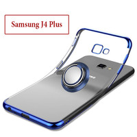 Samsung J4 Plus Soft Case Casing Cover Plating Clear Bening With Ring