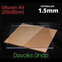 LEMBARAN ACRYLIC / AKRILIK A4 1.5MM TRANSPARAN GROSIR BERKUALITAS