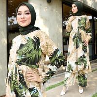 stelan muslim wanita daun kelapa atasan tunik plus celana kulot
